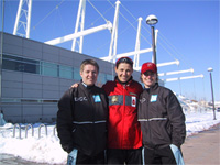 Susan with two Norwegian skaters -Edel-Therese Hoiseth and Linda Olsen outside of the Olympic Oval in Salt Lake.